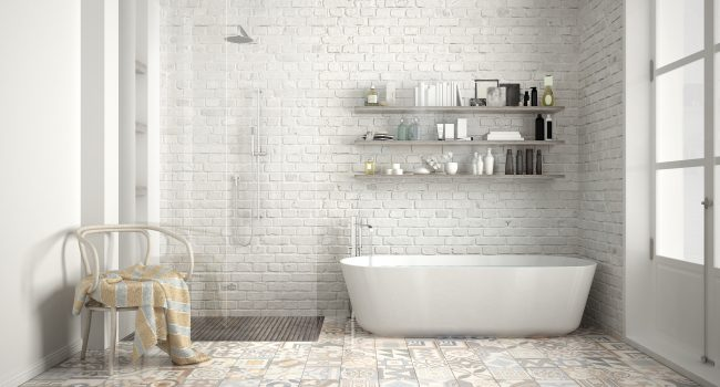 Scandinavian bathroom, classic white vintage interior designScandinavian bathroom, classic white vintage interior design