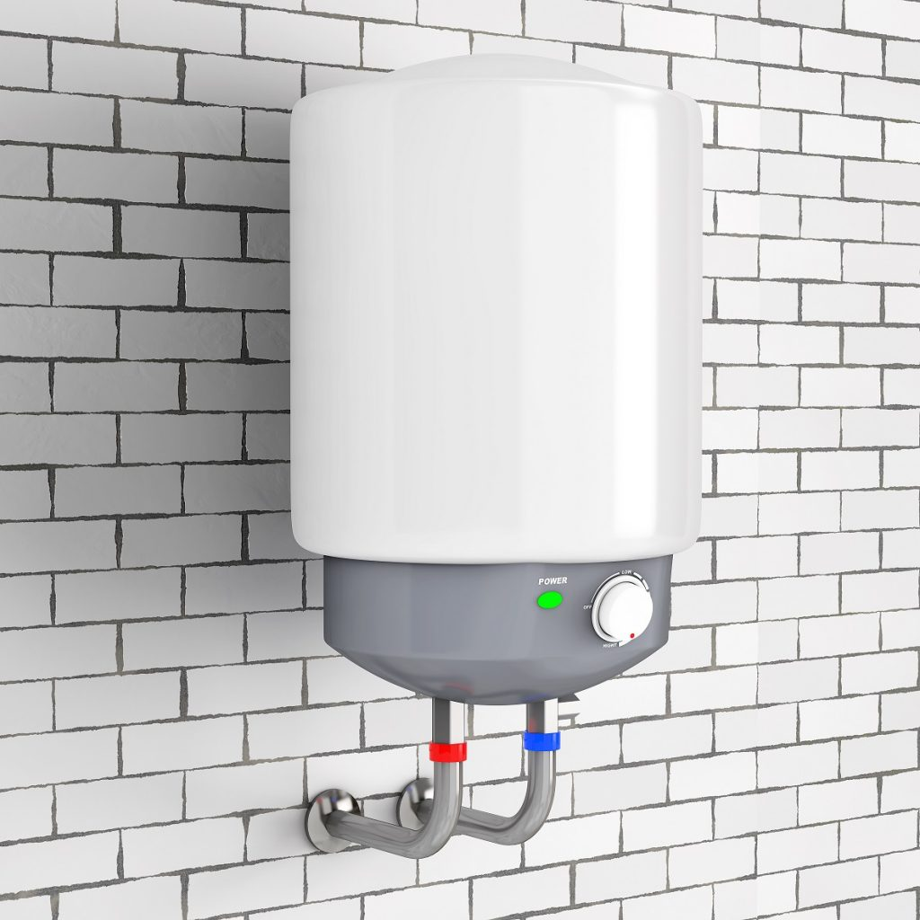 tankless water heater on white brick wall